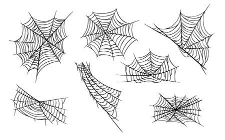 Conjunto de ilustraciones monocromas dibujadas a mano de tela de araña