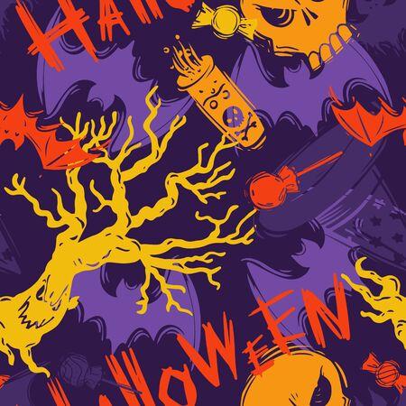 Resumen de patrones sin fisuras de halloween para niñas, niños, ropa. Fondo creativo con elemento aterrador. Papel pintado divertido para textil y tela. Estilo de moda. Colorido brillante.