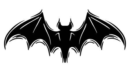 Murciélago con alas extendidas ilustración de silueta dibujada a mano