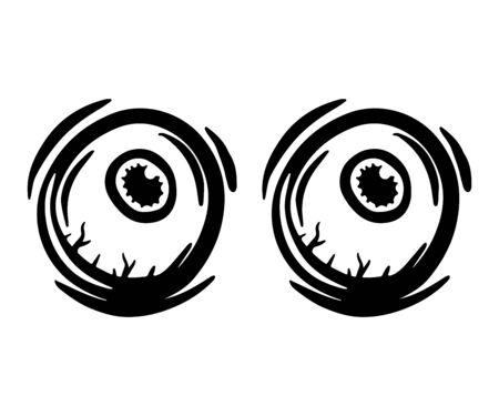 Eyes wide open hand drawn monochrome illustration