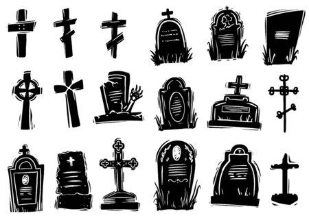 Scary gravestones hand drawn silhouette illustrations set  イラスト・ベクター素材