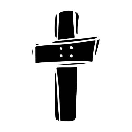 Creepy wooden cross hand drawn silhouette illustration  イラスト・ベクター素材