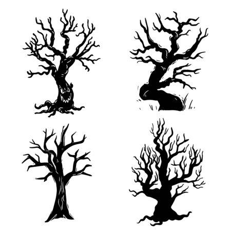Ensemble d'illustrations dessinées à la main en noir et blanc d'arbres secs