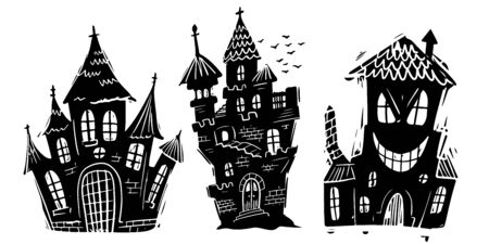 Haunted houses black and white hand drawn illustrations set