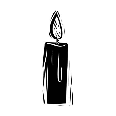 Candle black and white hand drawn illustration. Wax stick with burning candlelight silhouette. Religion, spirituality symbol. Hope, player sign. Burning candle sticker, Halloween poster design element