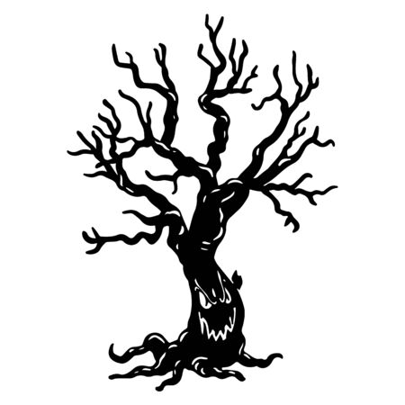 Tree with scary smile black and white hand drawn illustration. Decorative Halloween symbol. Creepy monster tree with face silhouette. All saints day event sticker isolated on white background