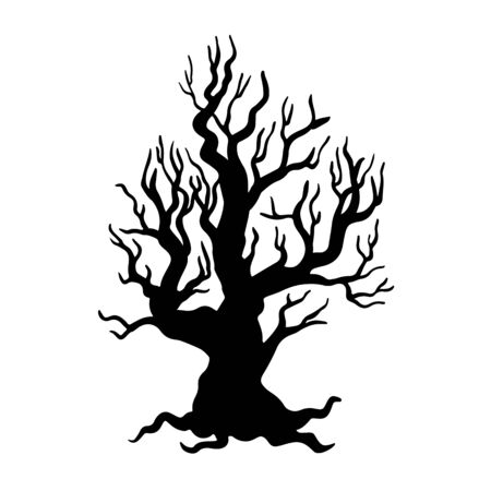 Old tree black and white hand drawn illustration. Twisted branches without leaves silhouette on white background. Dry and dead tree with thick trunk and roots. Leafless flora with bare twigs sticker