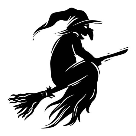 Witch flying on broomstick black and white illustration. Halloween fantasy creature with huge wart on nose silhouette. Witchcraft symbol, all saints day celebration postcard, poster design element  イラスト・ベクター素材
