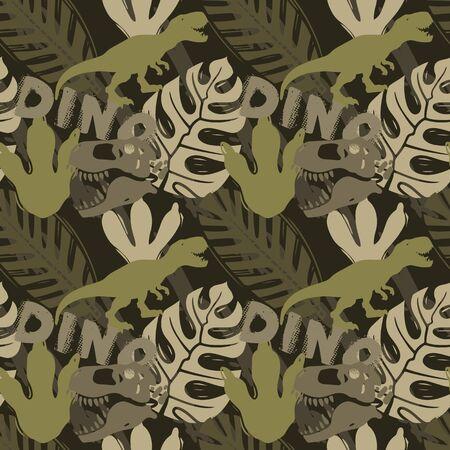 Periodo giurassico, modello senza cuciture piatto creativo di dinosauro. Struttura disegnata a mano animale preistorico. Sfondo decorativo di ossa e impronte di tirannosauro. Carta da parati, tessuto, carta da regalo