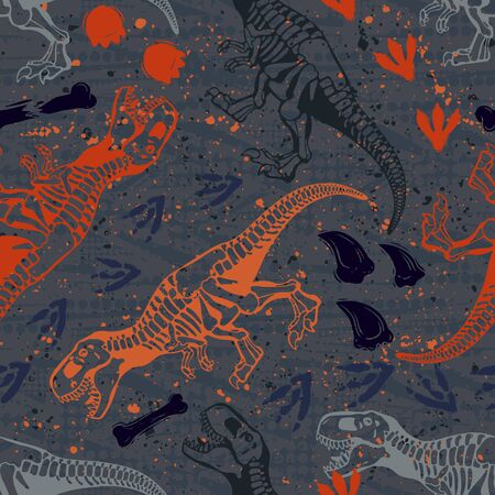Jurassic period, dinosaur creative flat seamless pattern. Prehistoric animal hand drawn texture. Tyrannosaurus bones and footprints decorative backdrop. Wallpaper, textile, wrapping paper design