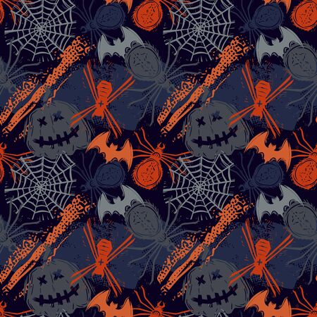 Abstract seamless halloween pattern for girls, boys, clothes. Creative background with dots, geometric figures Funny wallpaper for textile and fabric. Fashion style. Colorful bright.