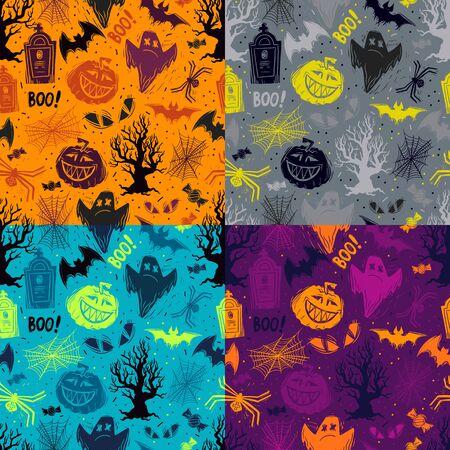 Abstraktes nahtloses Halloween-Muster für Mädchen, Jungen, Kleidung. Kreativer Hintergrund mit Punkten, gruseligen Figuren Lustige Tapete für Textilien und Stoff. Modestil. Bunt hell
