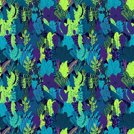 Vector colorful Hand drawn stylized floral tropical seamless pattern for girls, boys, clothes. Funny wallpaper for textile and fabric. Fashion style. Colorful bright