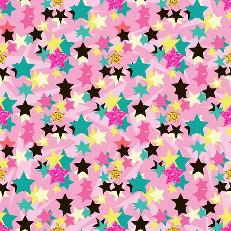Abstract seamless vector pattern for girls, boys, clothes. Creative background with dots, stars. Funny wallpaper for textile and fabric. Fashion style. Colorful bright Illusztráció