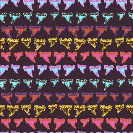 Abstract seamless vector pattern for girls, boys, clothes. Creative background with Tooth of sharks. Funny wallpaper for textile and fabric. Fashion style. Colorful bright Illusztráció