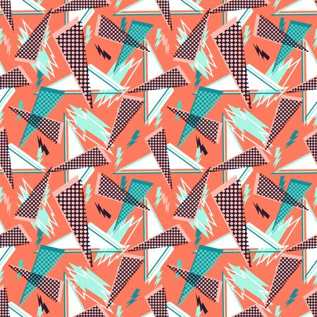 Abstract seamless vector pattern for girls, boys, clothes. Creative background with dots, geometric figures Funny wallpaper for textile and fabric. Fashion style. Colorful bright Illusztráció