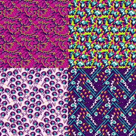 Set of Abstract seamless vector pattern for girls, boys, clothes. Creative background with dots, geometric figures Funny wallpaper for textile and fabric. Fashion style. Colorful bright Illusztráció