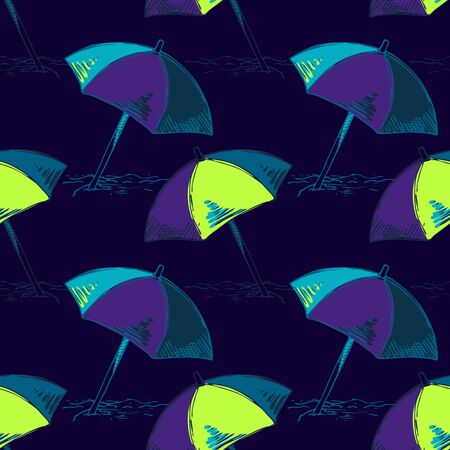 Abstract seamless vector vacation pattern for girls, boys, clothes. Creative background with beach umbrella,Funny wallpaper for textile and fabric. Fashion style. Colorful bright. Illusztráció