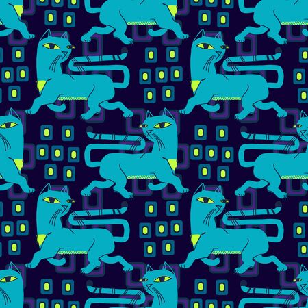 Abstract seamless vector animal pattern for girls, boys, clothes. Creative background with Cats, Funny wallpaper for textile and fabric. Fashion style. Colorful bright.