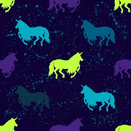 Abstract seamless vector magic pattern for girls, boys, clothes. Creative background with unicorn, Funny wallpaper for textile and fabric. Fashion style. Colorful bright.