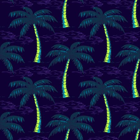 Abstract seamless vector tropical pattern for girls, boys, clothes. Creative background with palm tree, Funny wallpaper for textile and fabric. Fashion style. Colorful bright. Illusztráció