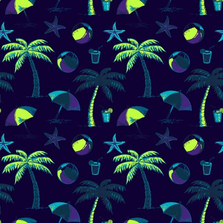 Summer time color creative hand drawn seamless pattern. Tropical vacation beach activities pink backdrop. Surfing board doodles background. Summertime wallpaper design Illusztráció