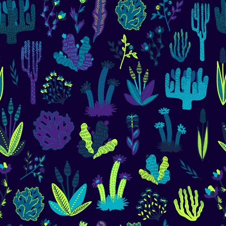 Vector colorful Hand drawn stylized floral tropical seamless pattern for girls, boys, clothes. Funny wallpaper for textile and fabric. Fashion style. Colorful bright. Illusztráció
