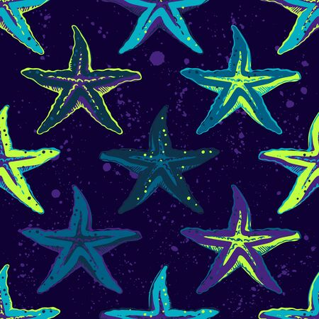Abstract seamless vector ocean pattern for girls, boys, clothes. Creative background with sea stars,Funny wallpaper for textile and fabric. Fashion style. Colorful bright. Illusztráció