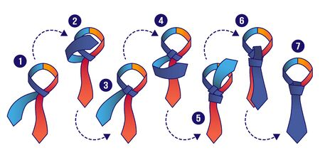 How to tie knot instruction illustrations set