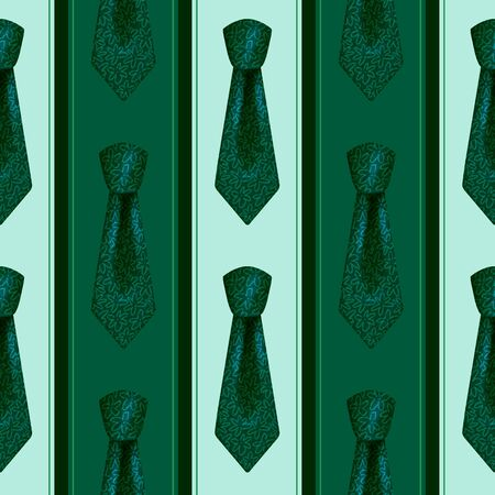 Realistic green neckties with knots color seamless pattern Stock fotó