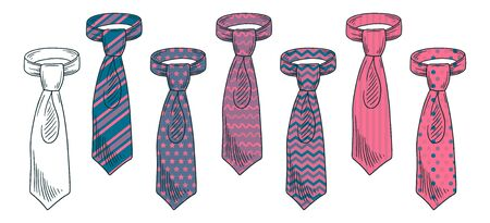 Bright knotted ties hand drawn illustrations set