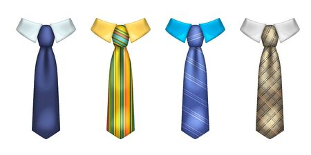 Colorful striped male neckties realistic illustrations set