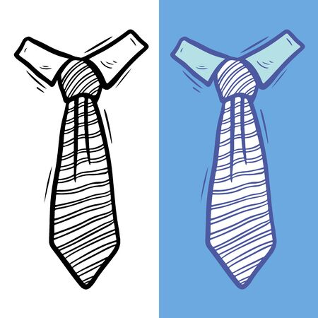 Knotted striped male ties hand drawn illustration