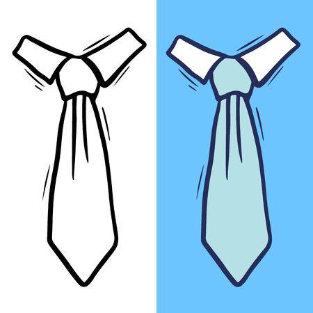 Set di cravatte maschili annodate illustrazione disegnata a mano
