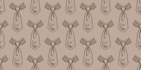 Bow ties and neckties hand drawn color seamless pattern