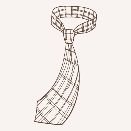 Stylish vintage checkered necktie hand drawn illustration. Trendy male neck accessory with pattern. Elegant neckcloth with knot monochrome ink drawing. Fashionable tie isolated on white