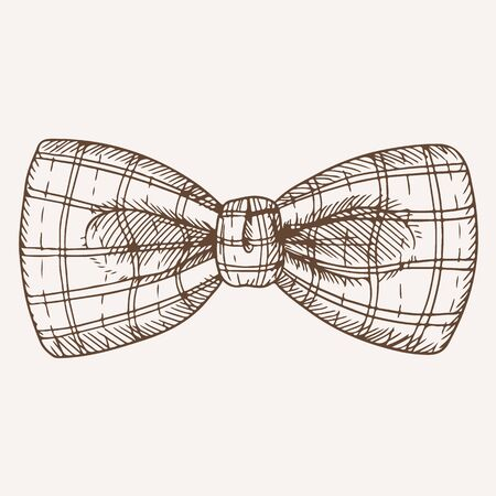 Classic retro checkered bow tie hand drawn illustration. Trendy neckwear with plaid pattern. Formal wear male accessory monochrome ink drawing. Fashionable bowtie isolated on white