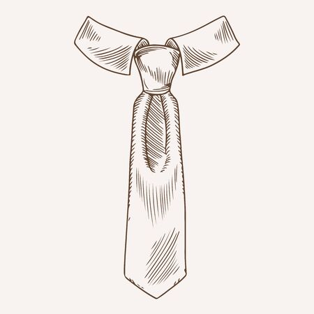 Classic tie with collar hand drawn illustration. Elegant official necktie. Formal wear male accessory freehand ink drawing. Sketched apparel. Isolated monochrome neckwear design element Çizim