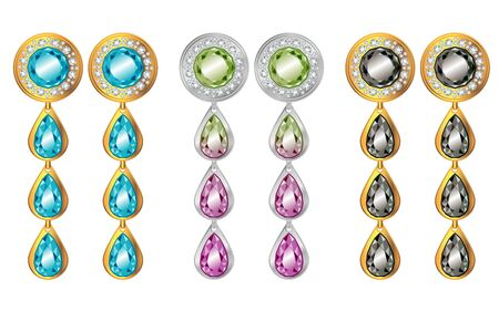 Golden and platinum earrings with gems realistic illustrations set