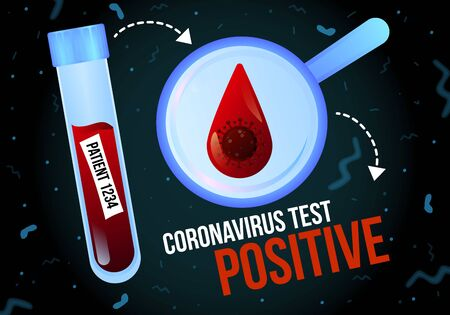 Positive coronavirus test infographics vector banner template