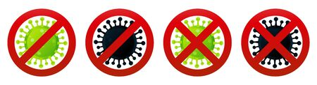 Stop dangerous coronavirus spreading flat illustrations set