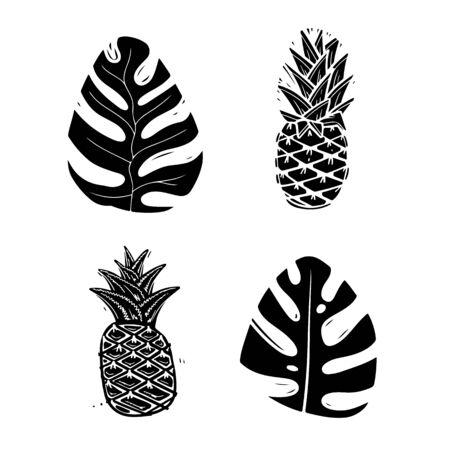 Exotic palm leaves monochrome silhouette illustrations set