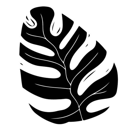 Exotic palm leaf black monochrome silhouette illustration Stock Illustratie