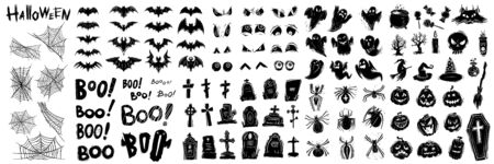 Halloween celebration black and white illustrations set. Traditional all saints day symbols silhouettes. October holiday decorative lettering and pumpkins, spiders, tombs, ghosts stickers collection