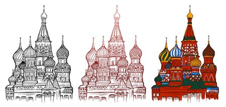 Cartoon sketch drawing Moscow symbol - Saint Basil's Cathedral, Russia. Hand draw Line and color Illustration Isolated on white backgroung.