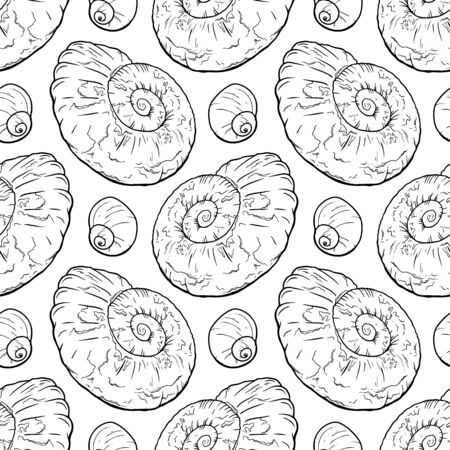 Hand draw seanless pattern with sea shells ammonite for girls, boys, clothes. Funny Ocean wallpaper for textile and fabric. Paleontology style