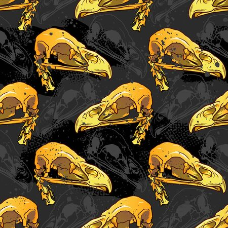 Bird Skull seamless pattern. for girls, boys, clothes. Creative Satanic background with mystic symbol. Funny wallpaper for textile and fabric. Halloween style