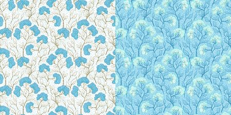 Flower branches with flowers vintage color seamless pattern. Japanese floral retro texture. Blooming spring tree on blue and white background. Botanical wallpaper, wrapping paper, textile design