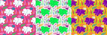 Hand Drawn Seamless pattern of Cartoon Dinosaur for girls, boys, clothes. Funny aleontology wallpaper for textile and fabric. Paleontology style. Illustration