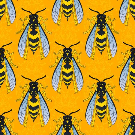 Wasps in black color. Wasp pattern. Seamless vector pattern with insects, symmetrical background with wasps in black color isolated on orange background